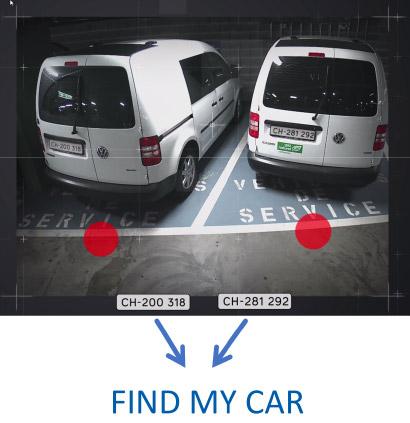 Guidage à la place par caméras intérieures